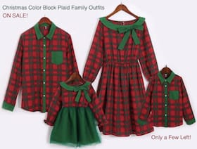 Christmas Color Block Plaid Family Outfits
