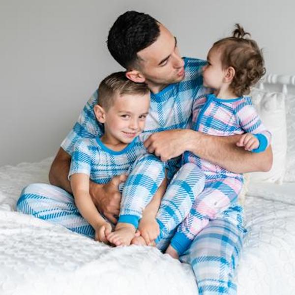 Family Matching Blueberry Plaid Bamboo Viscose Summer Pajamas