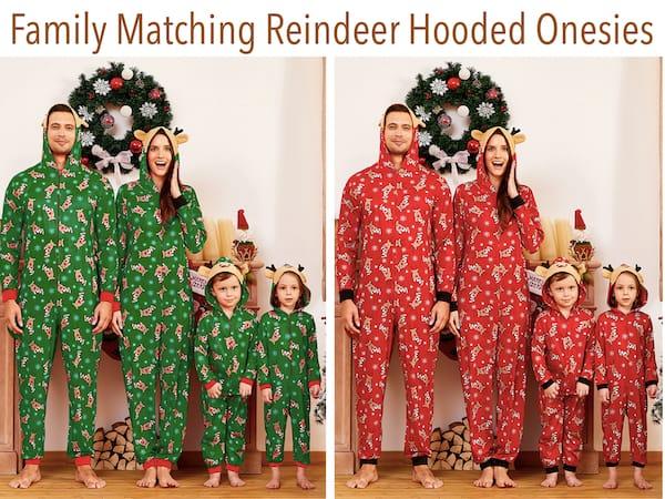 Family Matching Hooded Reindeer Christmas Onesies