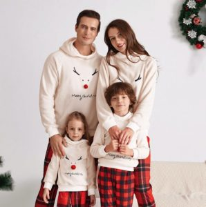 Family Matching Merry Christmas Antler Hooded Sweatshirts