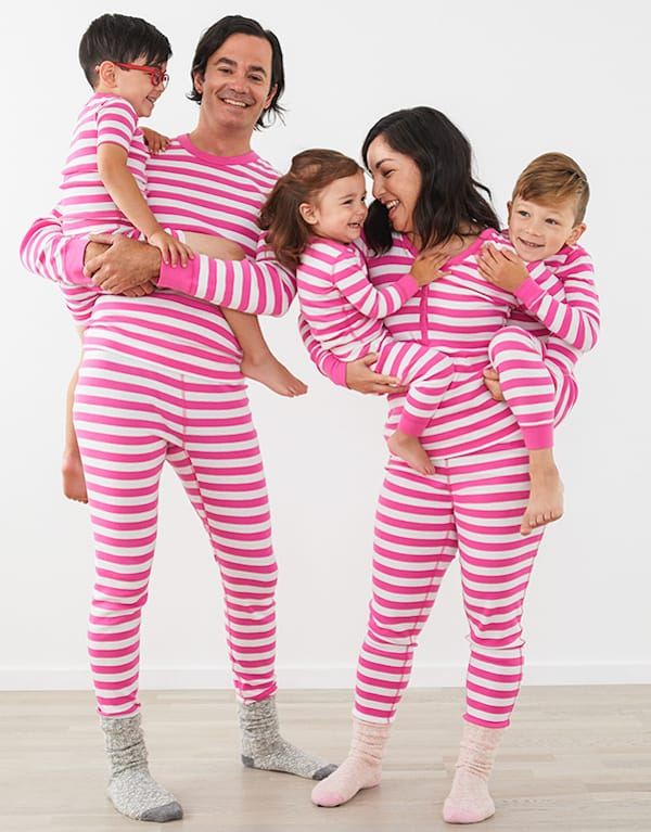 Matching Family Bright Pink Striped Organic Cotton Pajamas
