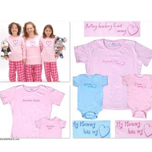 Mom & Me Love Heart Awesome Matching Shirts & Pajamas