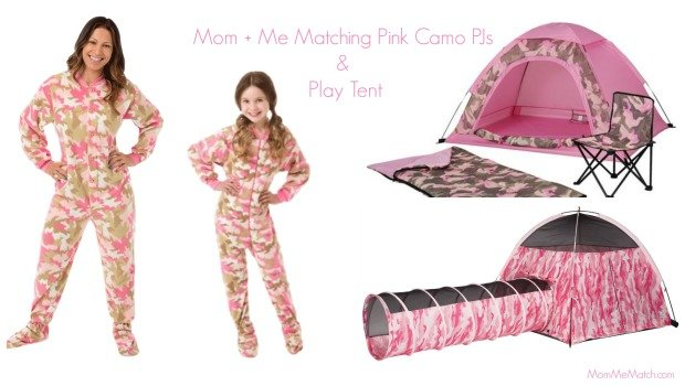 Mom & Me Matching Pink Camo PJs with Matching Play Tent, Family Camouflage Night