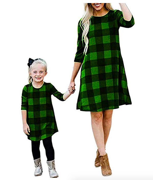 Matching Mother Daugher Green Plaid Dresses