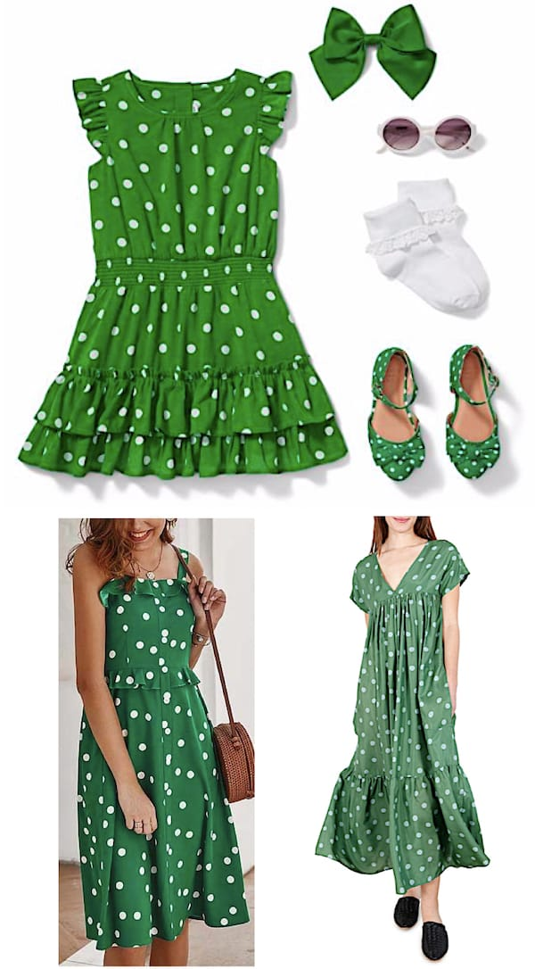 Mother Daughter Green Polka Dot Matching Dresses