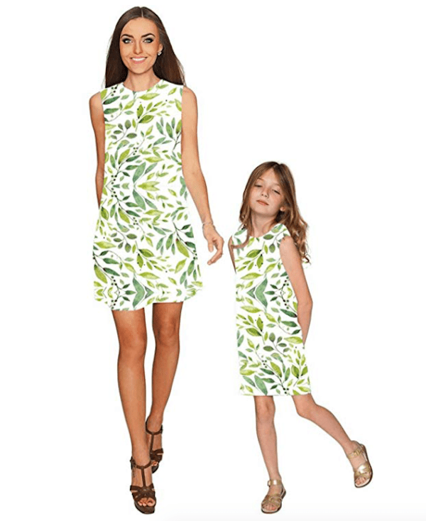 Mother Daughter Matching Leaf Print Dress