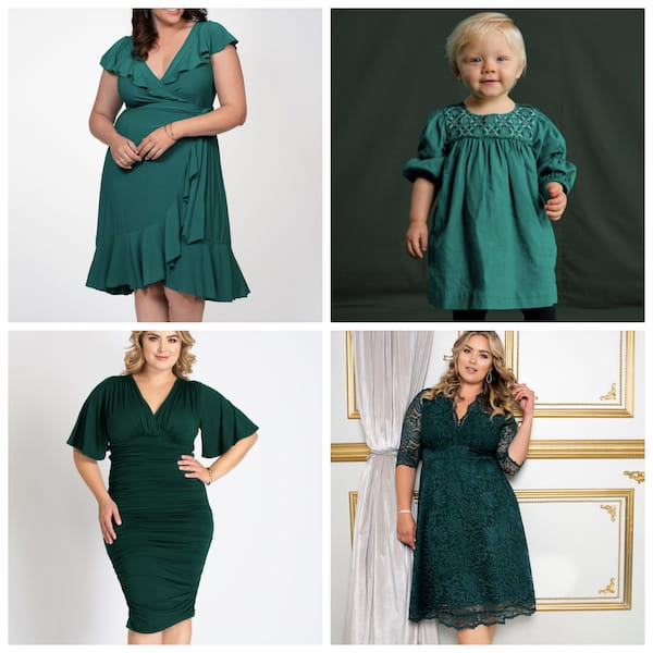 Plus Size Mother Daughter Green Dresses