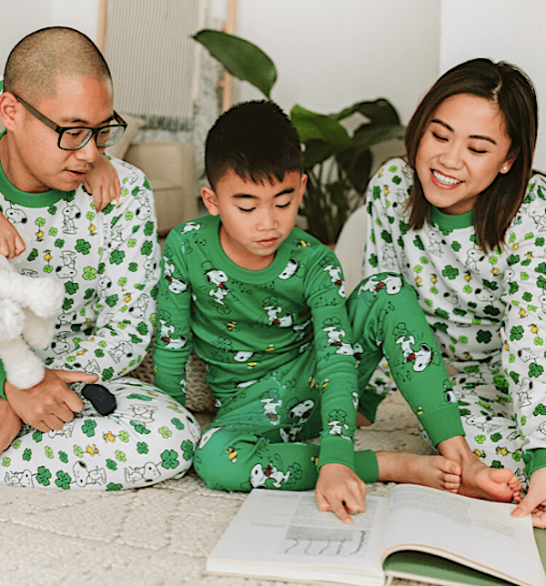 Snoopy Shamrock Green Family Matching St Patricks Day Pajamas