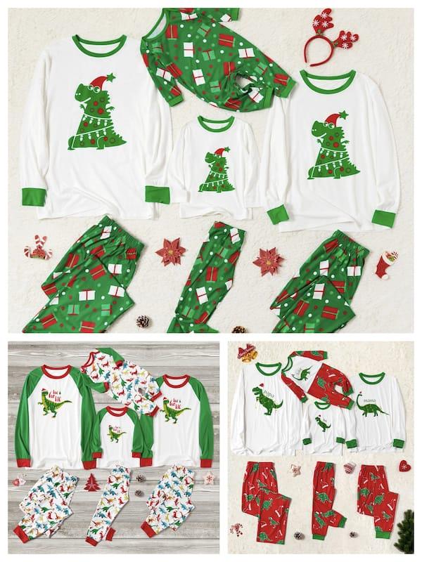 Family Matching Christmas Dinosaur Pajamas