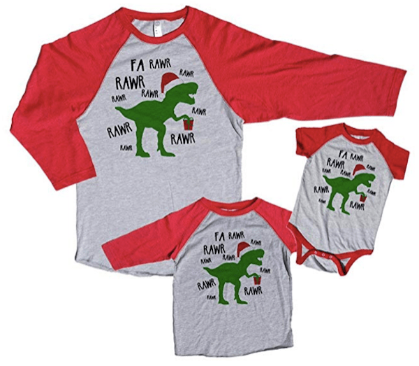 Family Matching Dinosaur Christmas Pajama Shirts