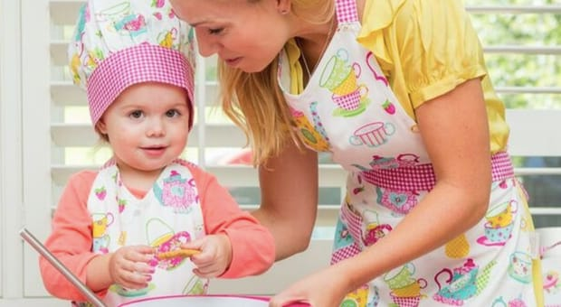Mother Daughter Kitchen Fun in Matching Aprons