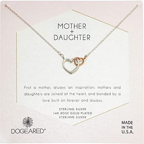 Dogeared Women's Mother & Daughter, Two Linked Heart Mixed Metal Hearts Necklace