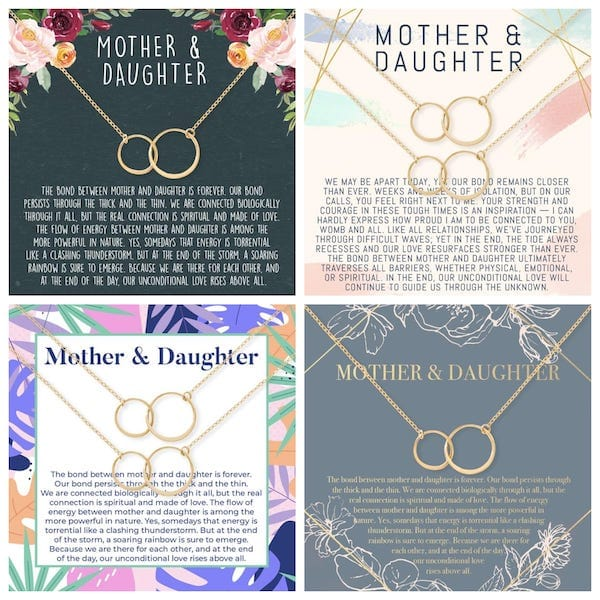 Mother Daghter Matching Interlocking Circles Necklaces - Mothers Day Gift Ideas