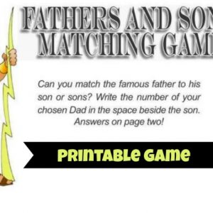Printable Fathers Sons Matching Game