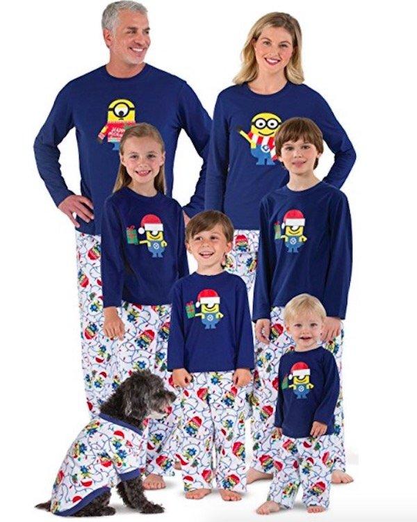 Family Matching Minion Character Themed Christmas Pajamas