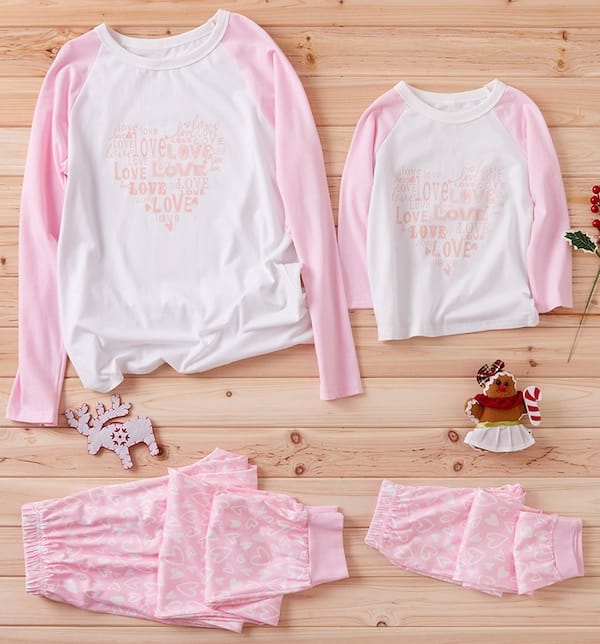 Love + Heart Mother Daughter Pajamas in Pink