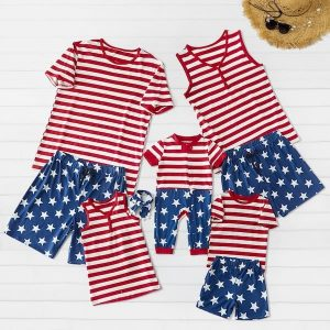 Family Matching Stars and Stripes Patriotic PJ Outfits