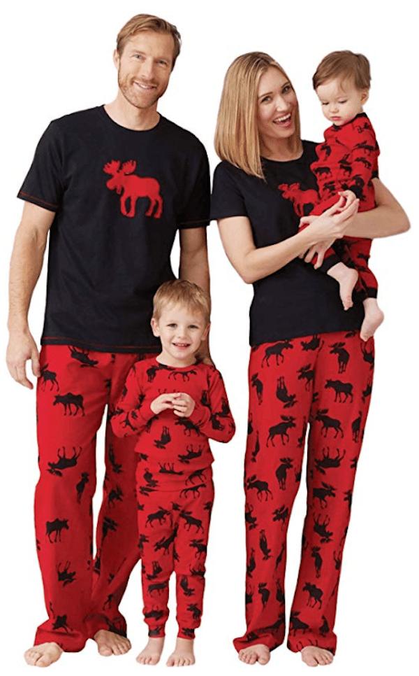 Family Matching Black and Red Moose Pajamas