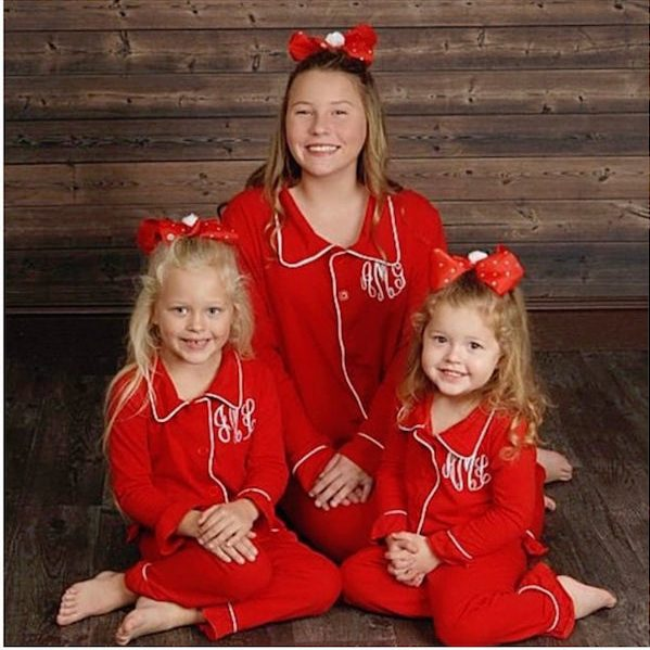 Christmas Pajamas for Kids Monogrammed in Sizes 0-3 Months to Adult -- Red Button down Christmas PJ's- Valentines Pajamas