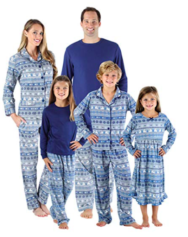 Family Matching Blue Nordic PJs
