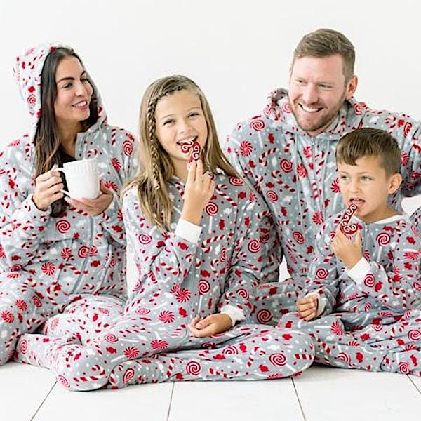 Family Matching Candy Cane Onesie Holiday Pajamas