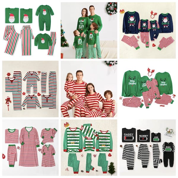 Family Matching Cheap Christmas Striped Pajamas