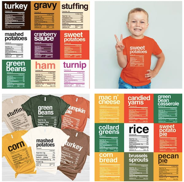 Family Matching Funny Thanksgiving Food T-shirts