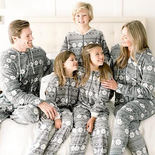 Family Matching Grey Snowflake Onesie Pajamas