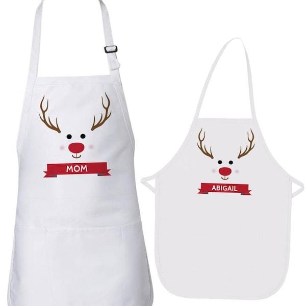 Family Matching Personalized Christmas Reindeer Aprons