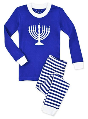 Kids All Cotton Hanukkah Menorah Long John Pajamas