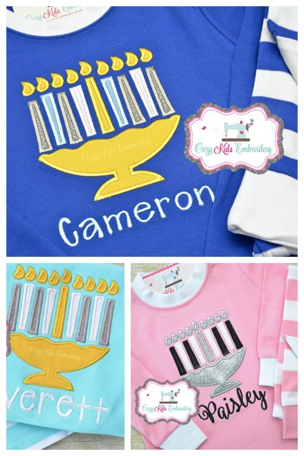 Kids Hanukkah Pajamas (with embroidery appliqué)