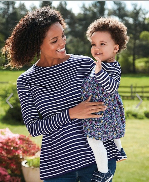 Navy Striped Maternity Top and Matchng Striped and Floral Daughter Dress