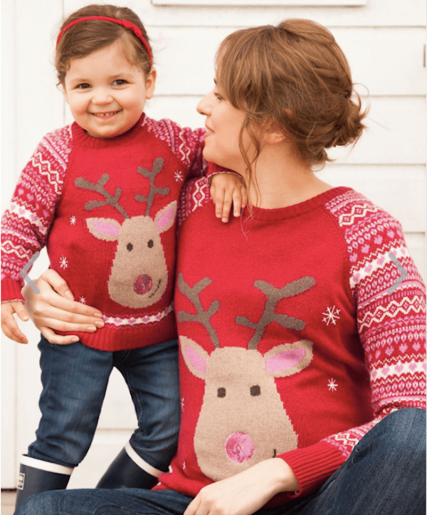 Red Reindeer Maternity Sweater and Matching Girl Sweater