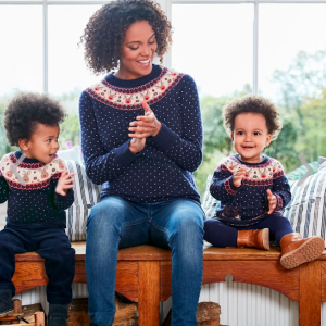 Reindeer Fair Isle Maternity Sweater and Matching Baby Sweater