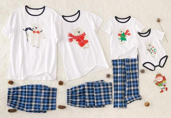 Family Matching Cute Bear Short Sleeved Holiday PJs