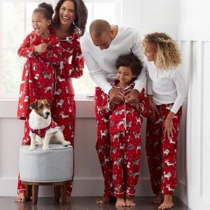 Family Matching Flannel Holiday Dogs Pajamas
