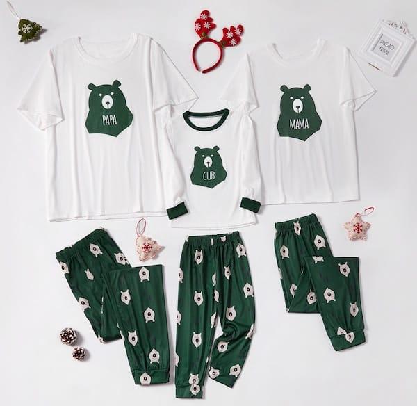 Family Matcing Green and White Bear Short Sleeved Holiday Pajamas