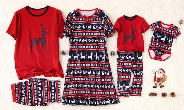 Matching Family Short Sleeve Reindeer Christmas Pajamas