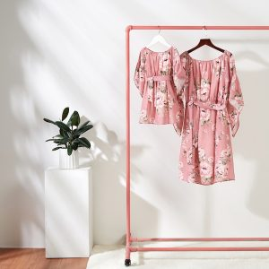 Matching Mother Daughter Off the Shoulder Pink Floral Dresses