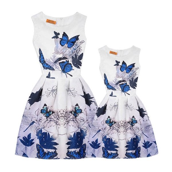 Mother Daughter Matching Blue Butterflies and Floral Dresses