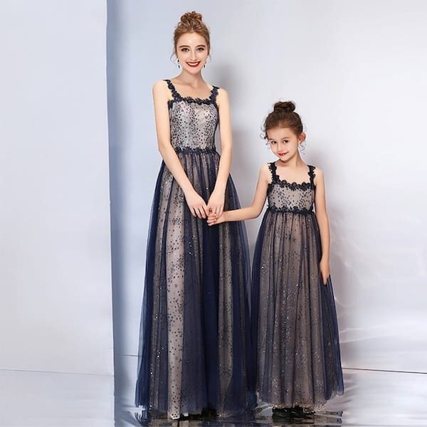 Elegant Sleeveless Sequin Lace Matching Mother Daugher Fancy Party Dresses