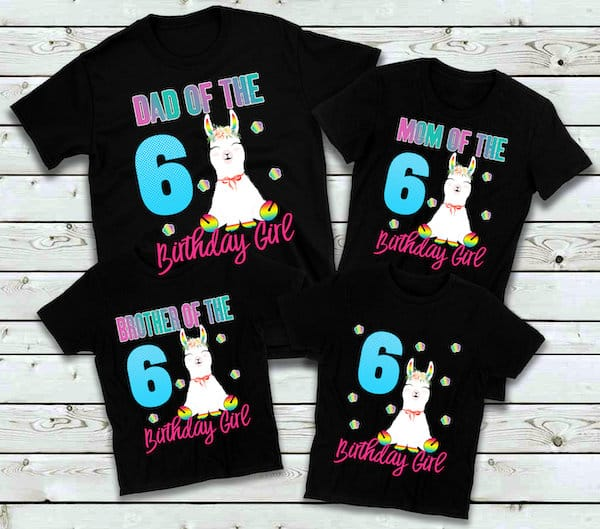 Llama Birthday Party Family Matching Custom Shirt