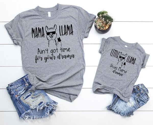 Mama Llama Ain't Got Time For Your Drama Mommy and Me Shirt Set