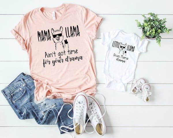 Mama Llama and Little Llama Outfits