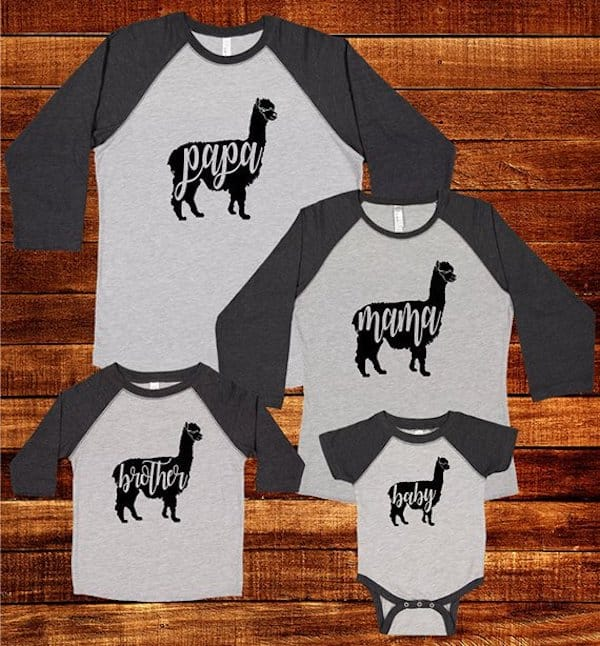 Matching Llama Fun Family Raglan Sleeves Shirts
