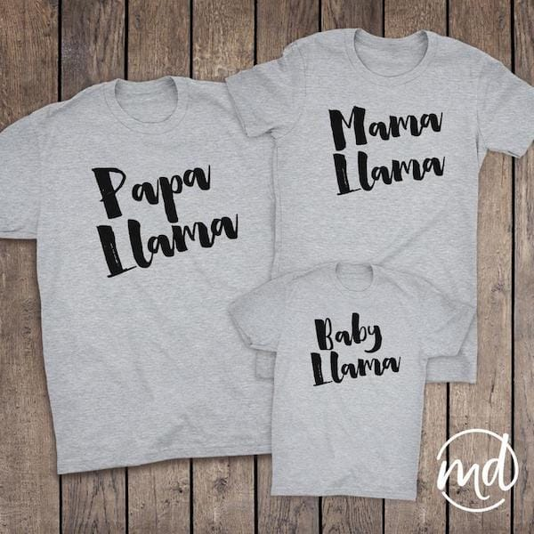 Papa Mama and Baby Llama Fun Tees