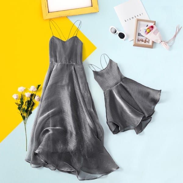 Silvery Matching Fancy Party Dresses for Mom and Me