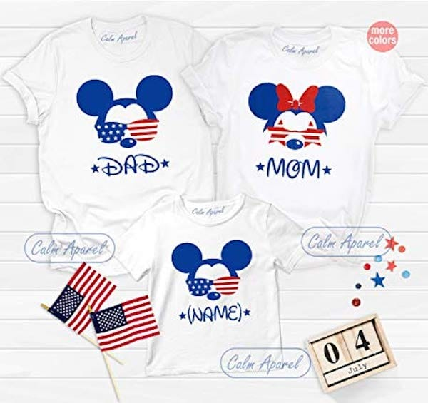 Family Matching Patriotic Mickey and Minnie Mouse Fourth of July Tees
