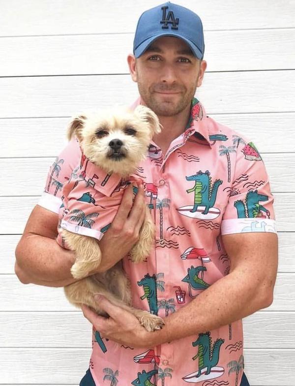 Daddy and Doggy Matching Hawaiian Alligator Shirts