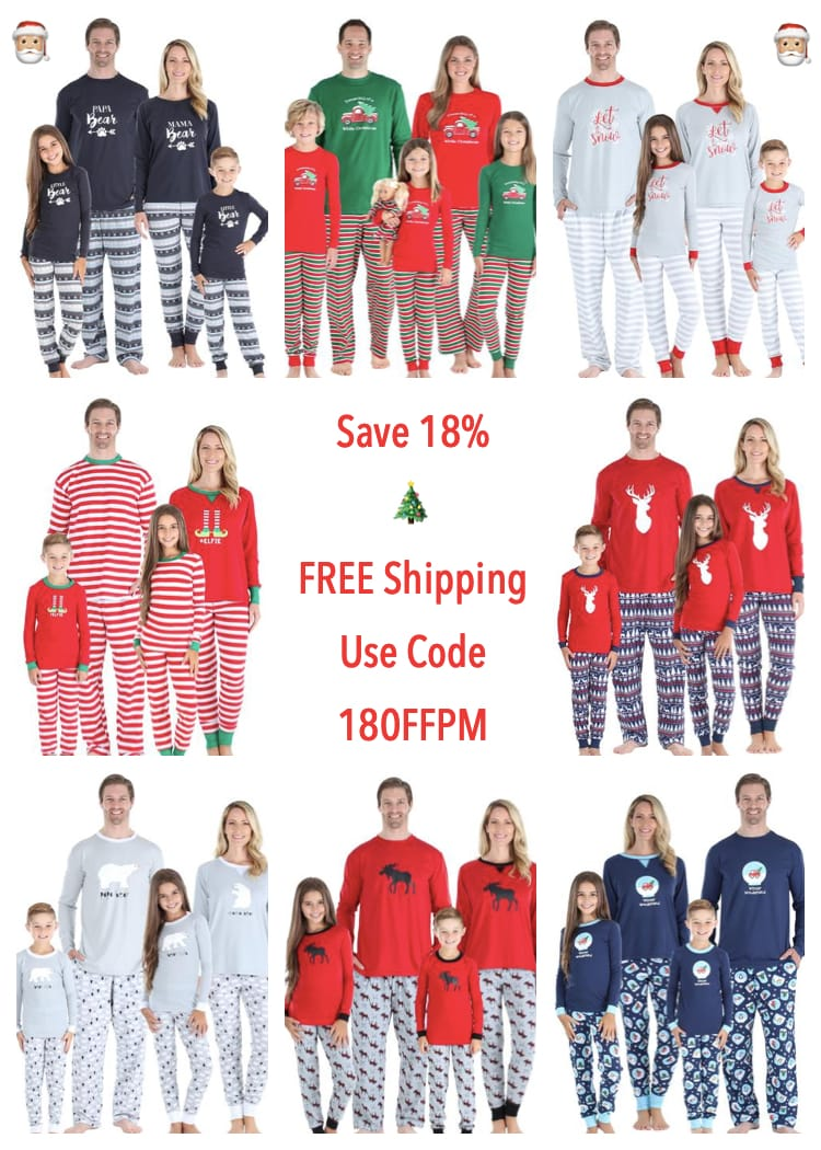 Family Matching Holiday Pajamas. Use Promo Code 18OFFPM to save 18%